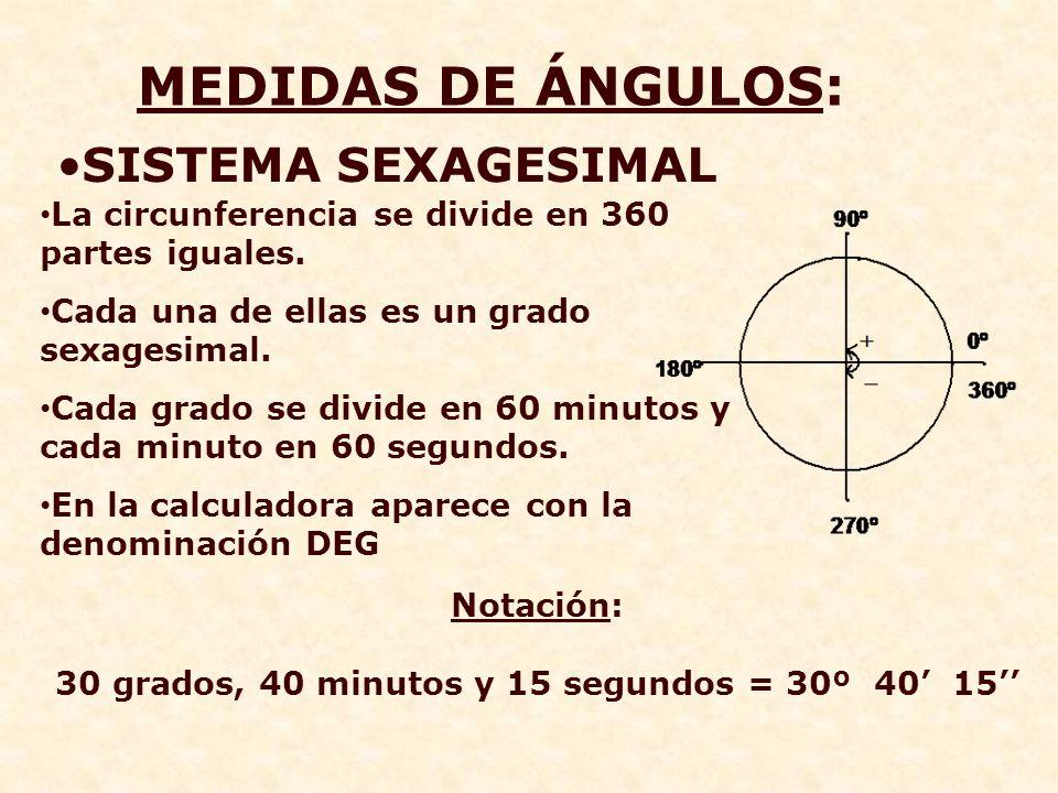 30 grados, 40 minutos y 15 segundos = 30º 40' 15''