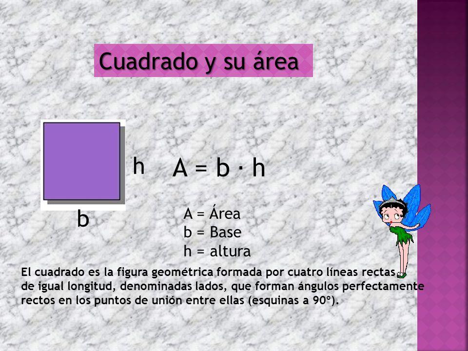 A = b ∙ h Cuadrado y su área h b A = Área b = Base h = altura