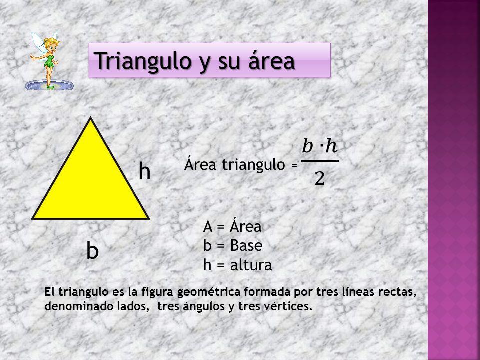 Triangulo y su área h b Área triangulo = 𝑏 ∙ℎ 2 A = Área b = Base