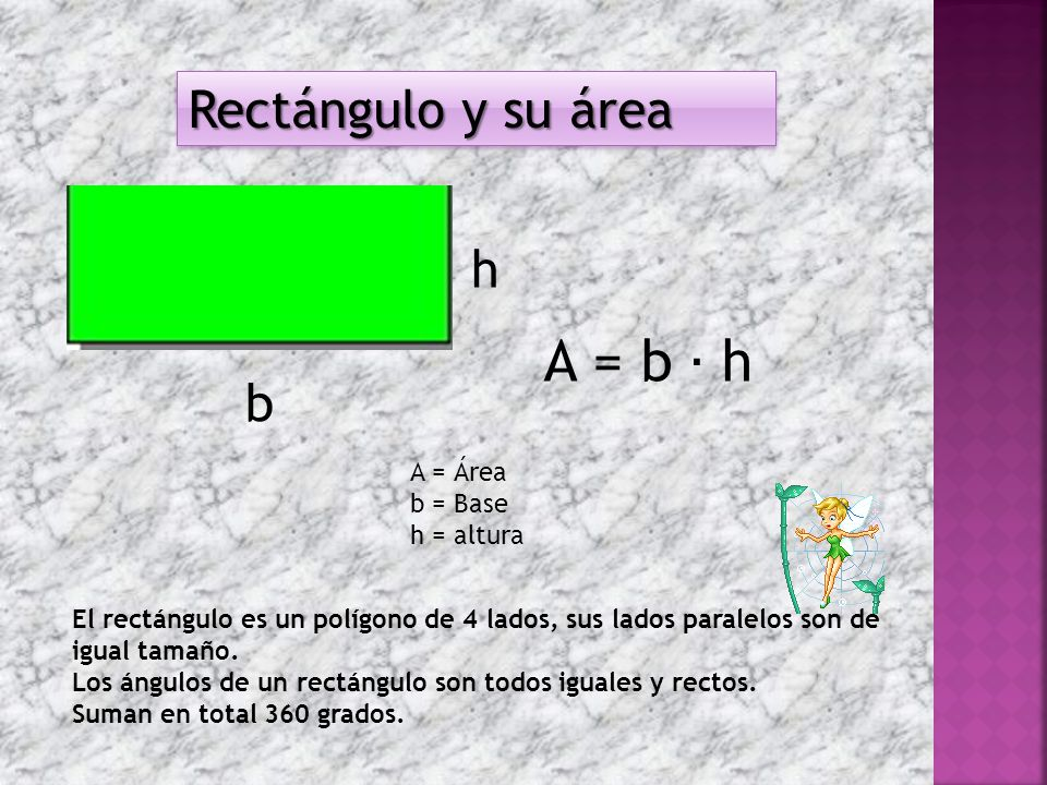 A = b ∙ h Rectángulo y su área h b A = Área b = Base h = altura