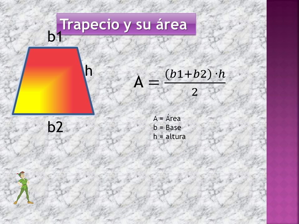Trapecio y su área b1 h A = 𝑏1+𝑏2 ∙ℎ 2 A = Área b = Base h = altura b2