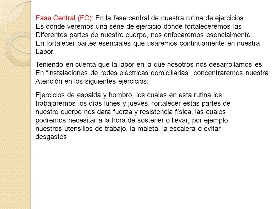 Fase Central (FC): En la fase central de nuestra rutina de ejercicios