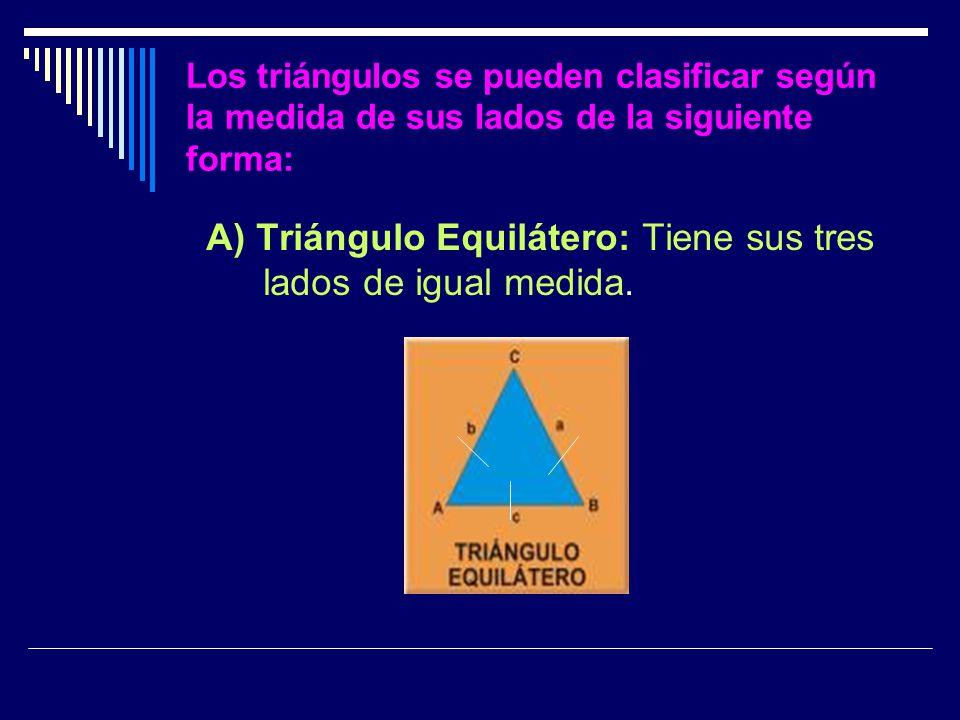 A) Triángulo Equilátero: Tiene sus tres lados de igual medida.