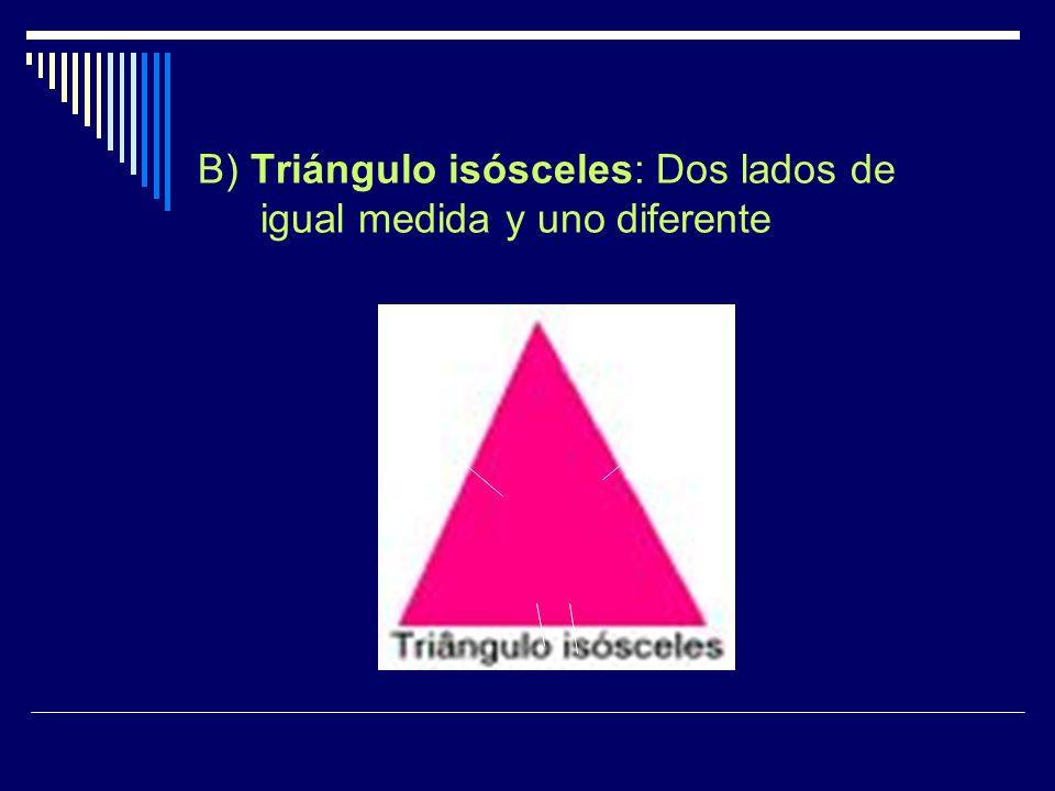 B) Triángulo isósceles: Dos lados de igual medida y uno diferente
