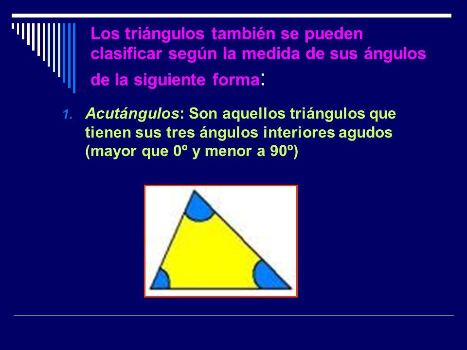Los triángulos también se pueden clasificar según la medida de sus ángulos de la siguiente forma: