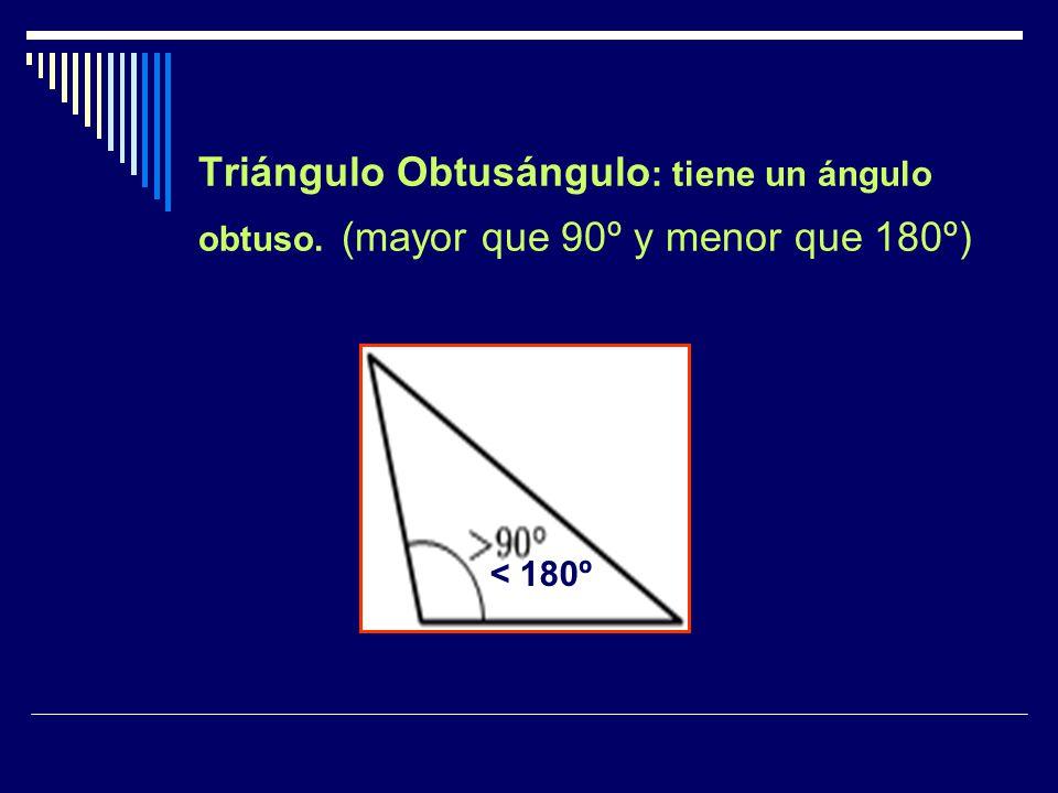 Triángulo Obtusángulo: tiene un ángulo obtuso