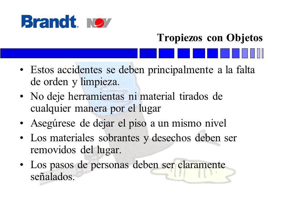 Tropiezos con Objetos Estos accidentes se deben principalmente a la falta de orden y limpieza.