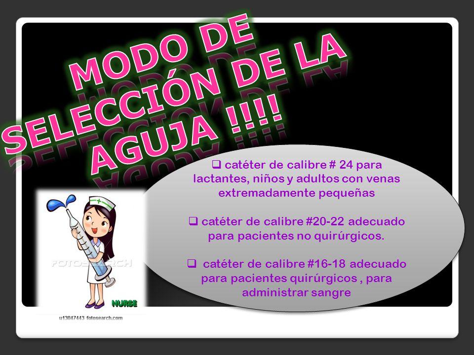 MODO DE SELECCIÓN DE LA AGUJA !!!!