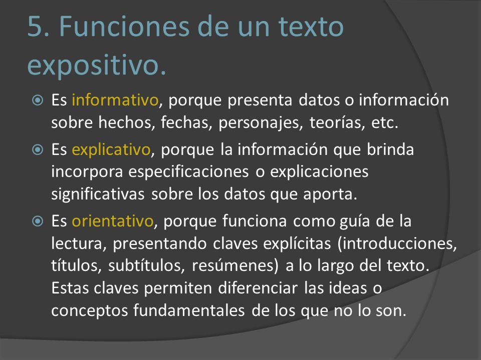 5. Funciones de un texto expositivo.