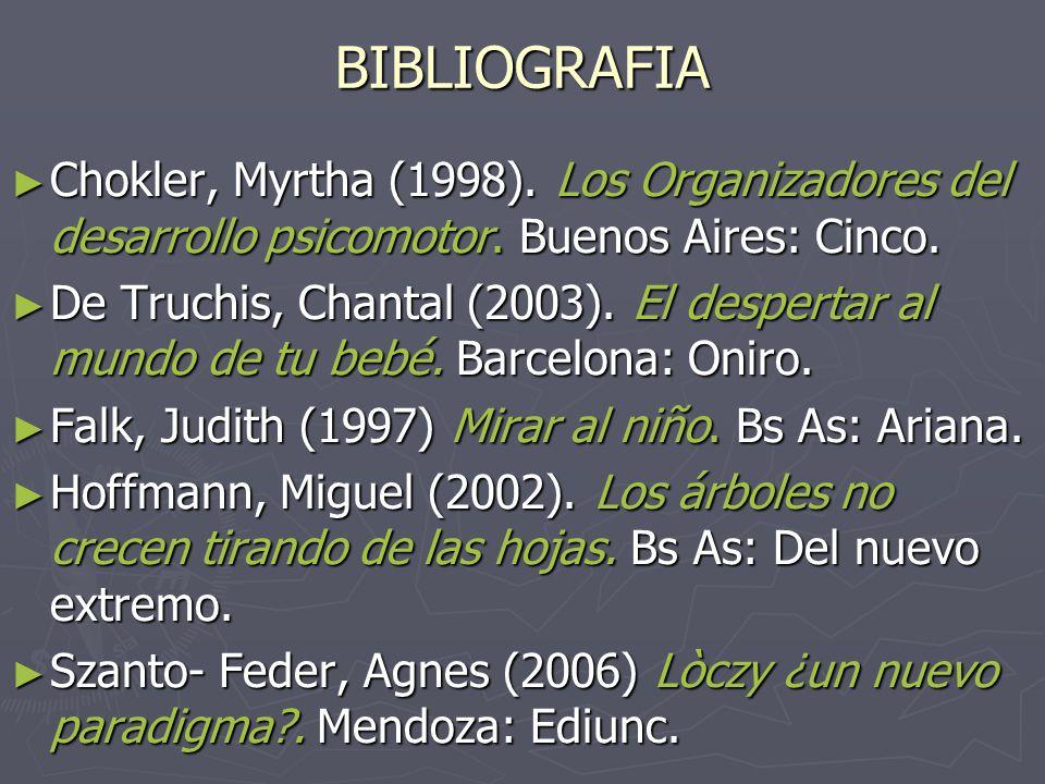 BIBLIOGRAFIA Chokler, Myrtha (1998). Los Organizadores del desarrollo psicomotor. Buenos Aires: Cinco.