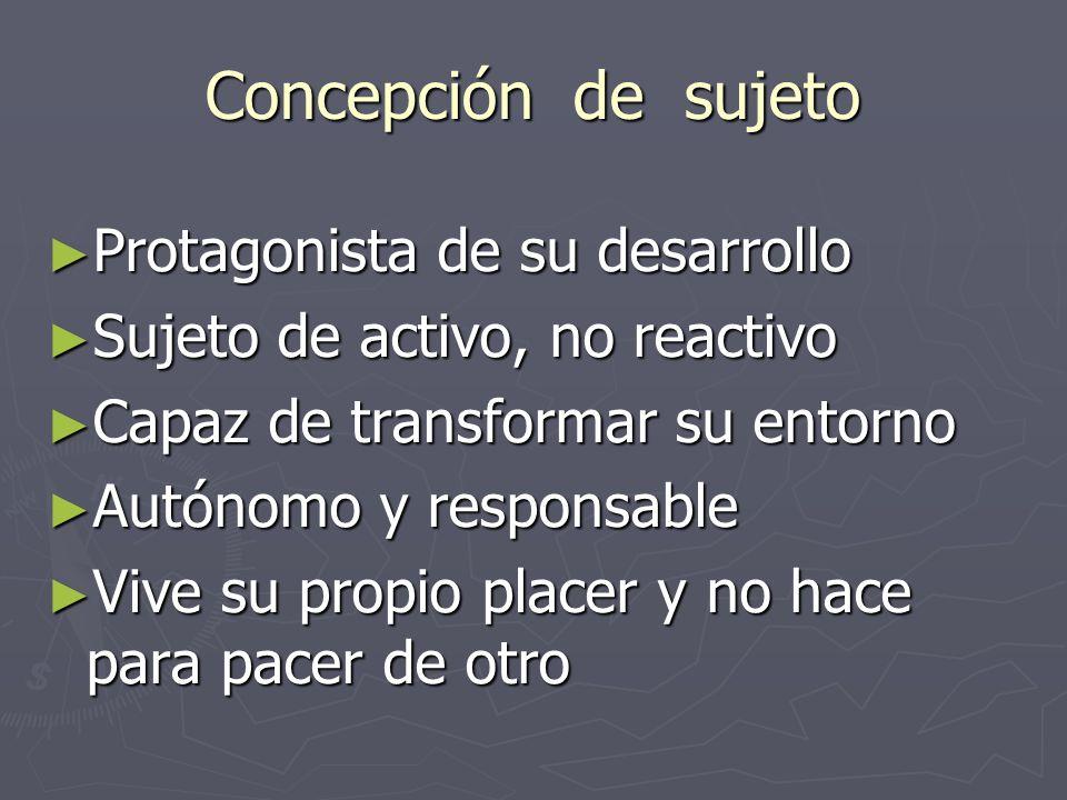 Concepción de sujeto Protagonista de su desarrollo