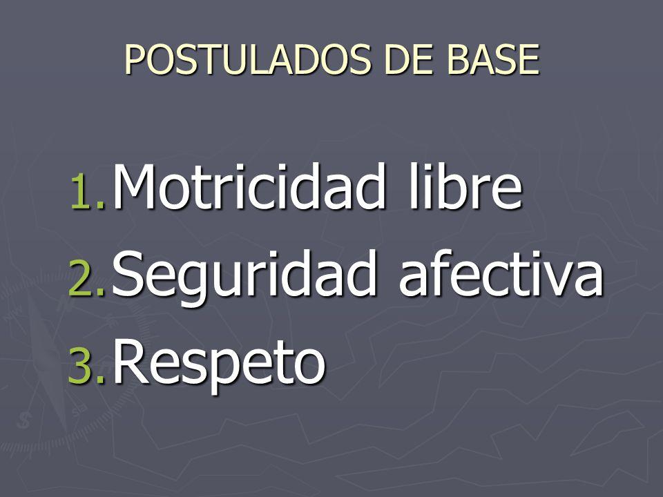 POSTULADOS DE BASE Motricidad libre Seguridad afectiva Respeto