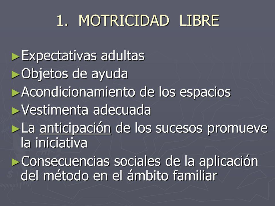 1. MOTRICIDAD LIBRE Expectativas adultas Objetos de ayuda