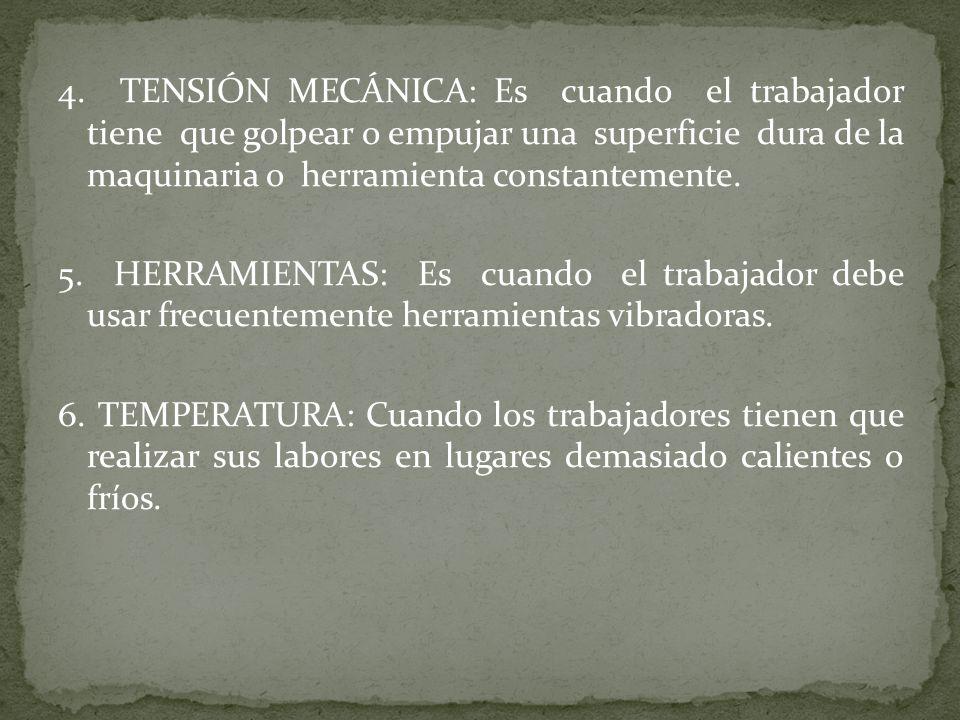 4. TENSIÓN MECÁNICA: Es cuando el trabajador tiene que golpear o empujar una superficie dura de la maquinaria o herramienta constantemente.