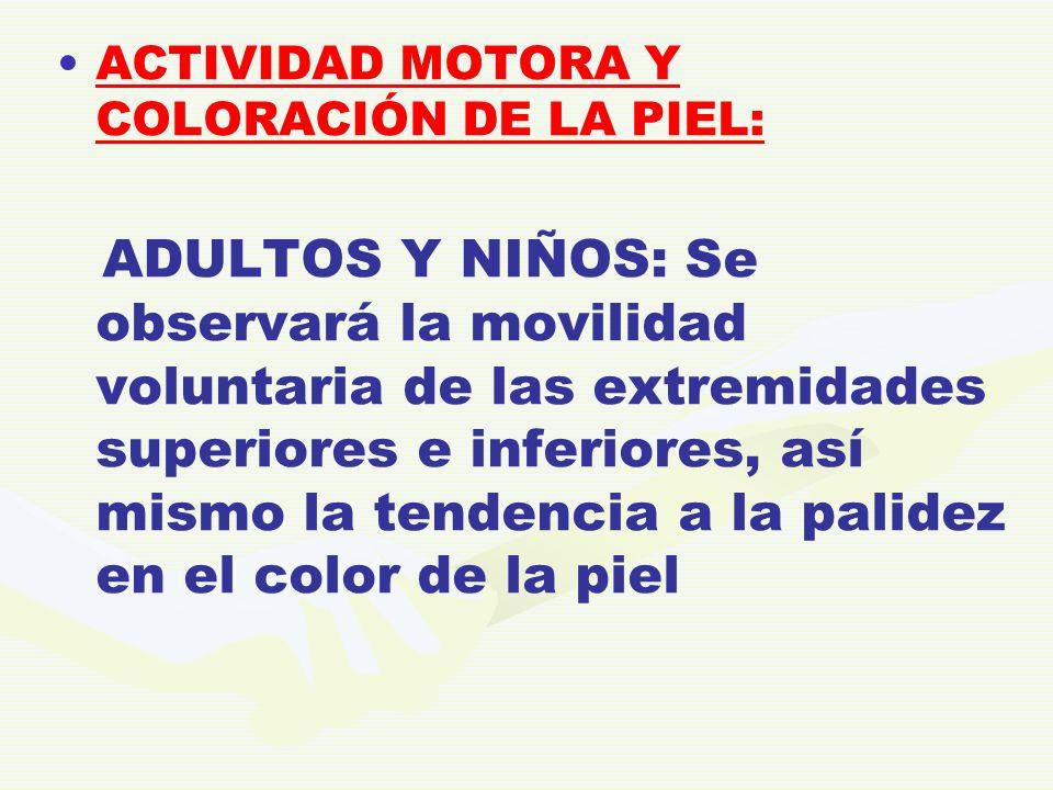 ACTIVIDAD MOTORA Y COLORACIÓN DE LA PIEL: