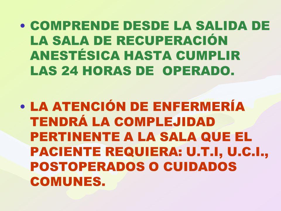 COMPRENDE DESDE LA SALIDA DE LA SALA DE RECUPERACIÓN ANESTÉSICA HASTA CUMPLIR LAS 24 HORAS DE OPERADO.