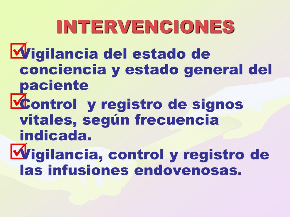 INTERVENCIONES Vigilancia del estado de conciencia y estado general del paciente. Control y registro de signos vitales, según frecuencia indicada.