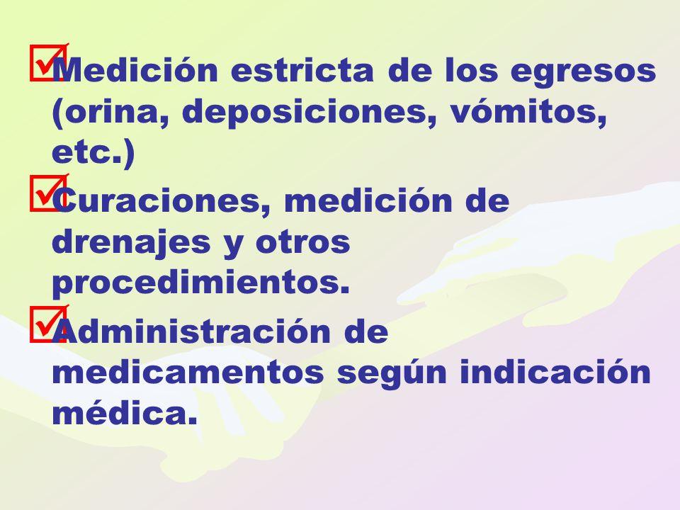 Medición estricta de los egresos (orina, deposiciones, vómitos, etc.)
