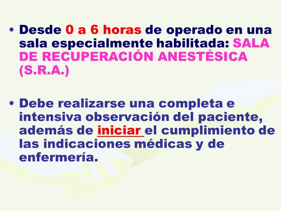Desde 0 a 6 horas de operado en una sala especialmente habilitada: SALA DE RECUPERACIÓN ANESTÉSICA (S.R.A.)