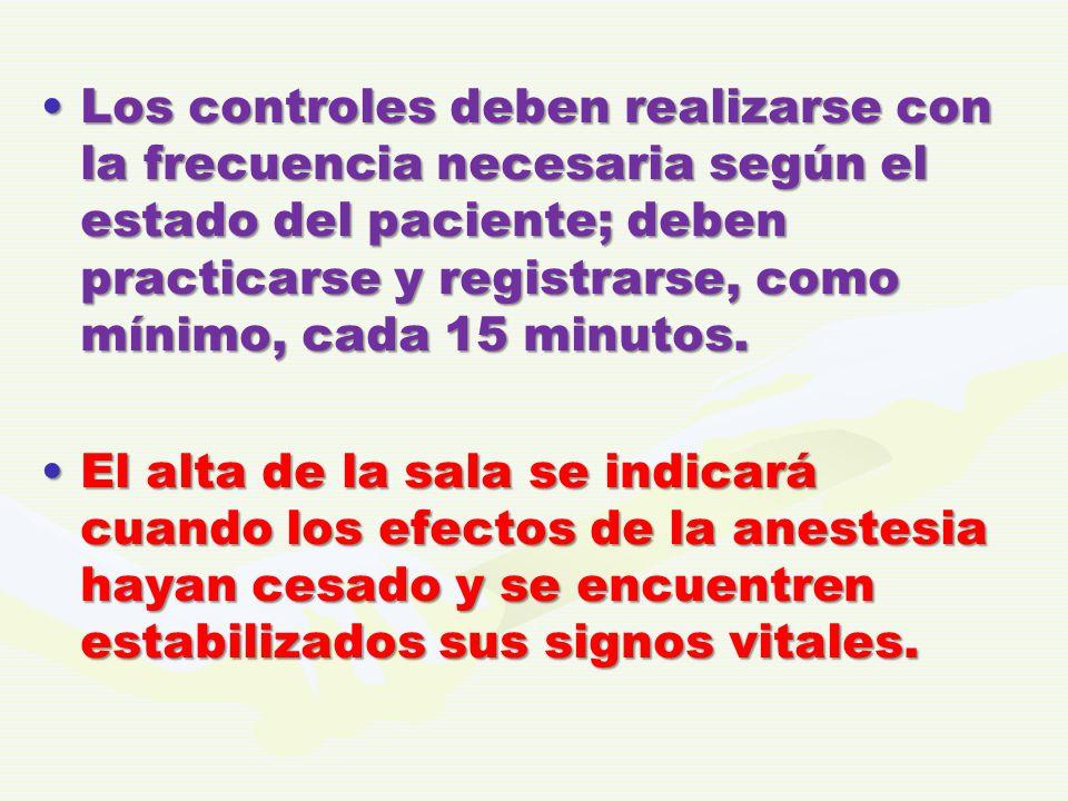 Los controles deben realizarse con la frecuencia necesaria según el estado del paciente; deben practicarse y registrarse, como mínimo, cada 15 minutos.