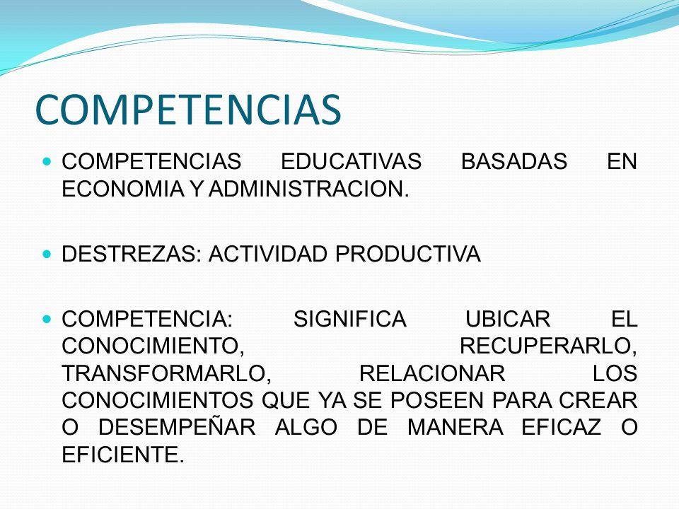 COMPETENCIAS COMPETENCIAS EDUCATIVAS BASADAS EN ECONOMIA Y ADMINISTRACION. DESTREZAS: ACTIVIDAD PRODUCTIVA.