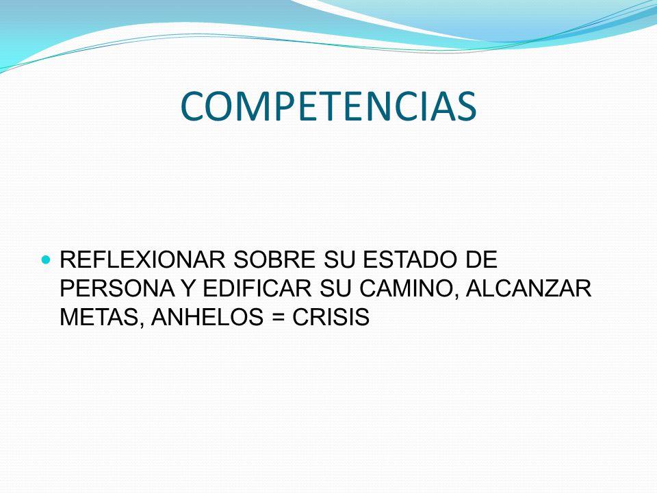 COMPETENCIAS REFLEXIONAR SOBRE SU ESTADO DE PERSONA Y EDIFICAR SU CAMINO, ALCANZAR METAS, ANHELOS = CRISIS.