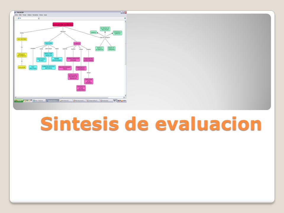 Sintesis de evaluacion
