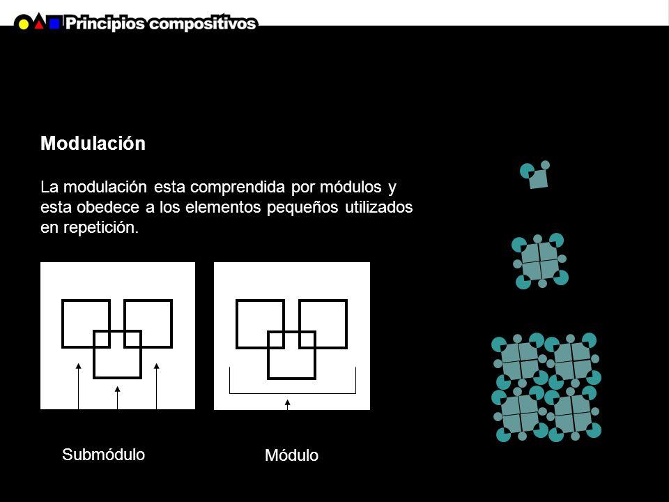 Modulación La modulación esta comprendida por módulos y esta obedece a los elementos pequeños utilizados en repetición.