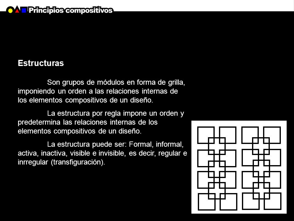 Estructuras Son grupos de módulos en forma de grilla, imponiendo un orden a las relaciones internas de los elementos compositivos de un diseño.