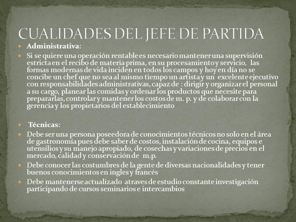 CUALIDADES DEL JEFE DE PARTIDA