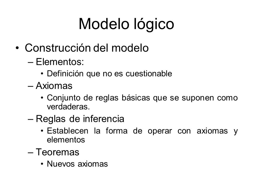Modelo lógico Construcción del modelo Elementos: Axiomas
