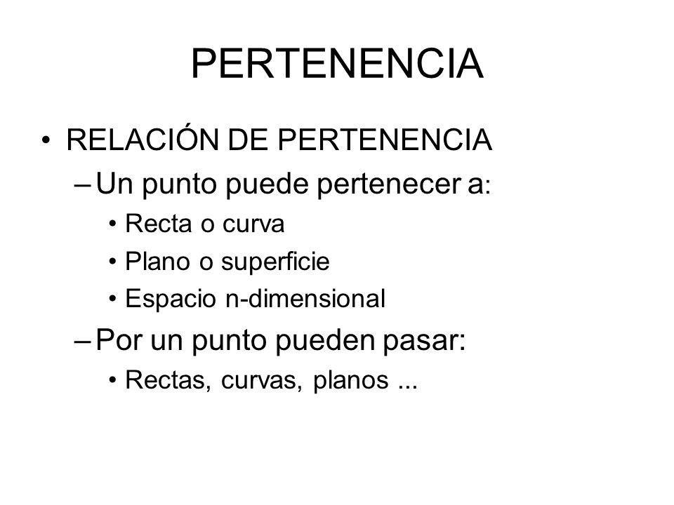 PERTENENCIA RELACIÓN DE PERTENENCIA Un punto puede pertenecer a: