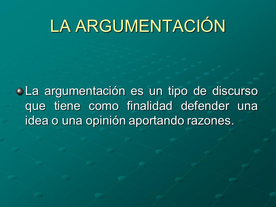 LA ARGUMENTACIÓN La argumentación es un tipo de discurso que tiene como finalidad defender una idea o una opinión aportando razones.
