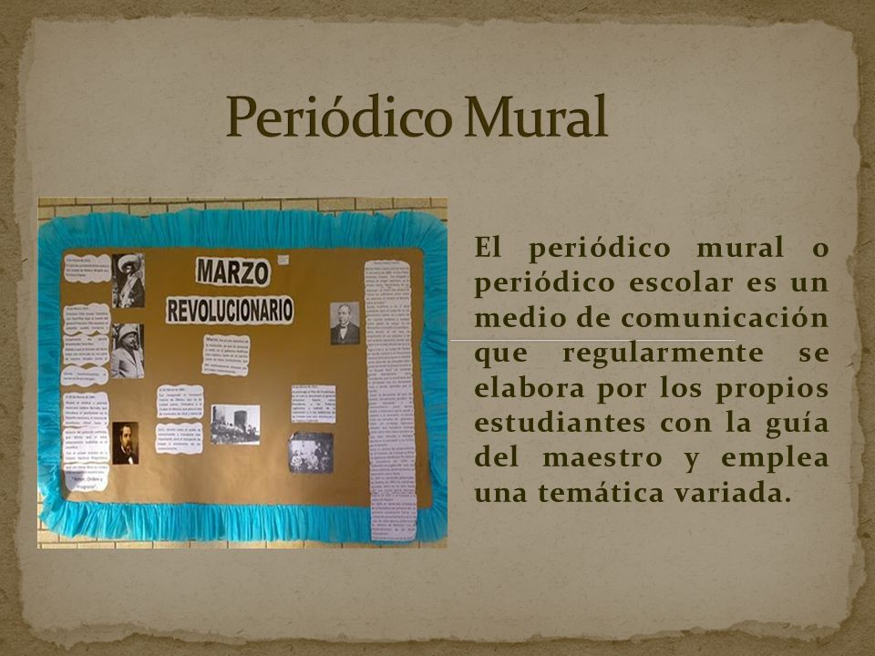 Peri dico mural ppt video online descargar for Elementos del periodico mural