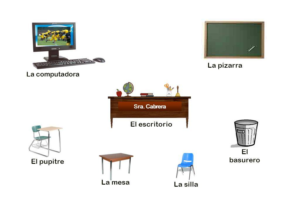 La pizarra El escritorio El basurero El pupitre La mesa La silla