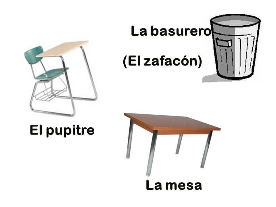 La basurero El pupitre (El zafacón) La mesa