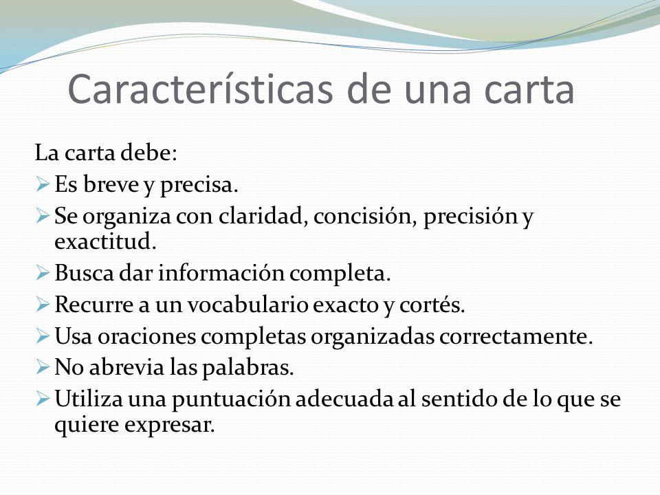 Características de una carta