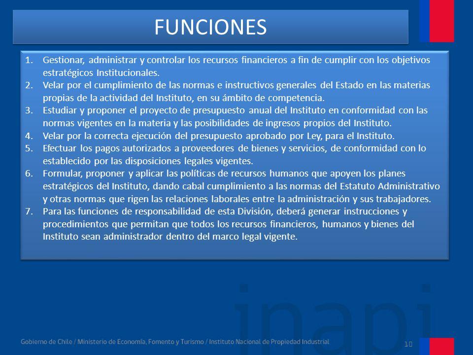 FUNCIONES Gestionar, administrar y controlar los recursos financieros a fin de cumplir con los objetivos estratégicos Institucionales.