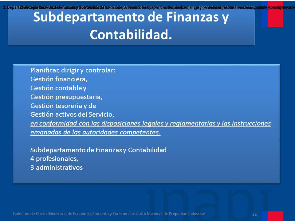 Subdepartamento de Finanzas y Contabilidad.