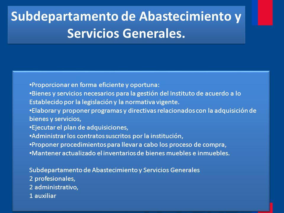 Subdepartamento de Abastecimiento y Servicios Generales.
