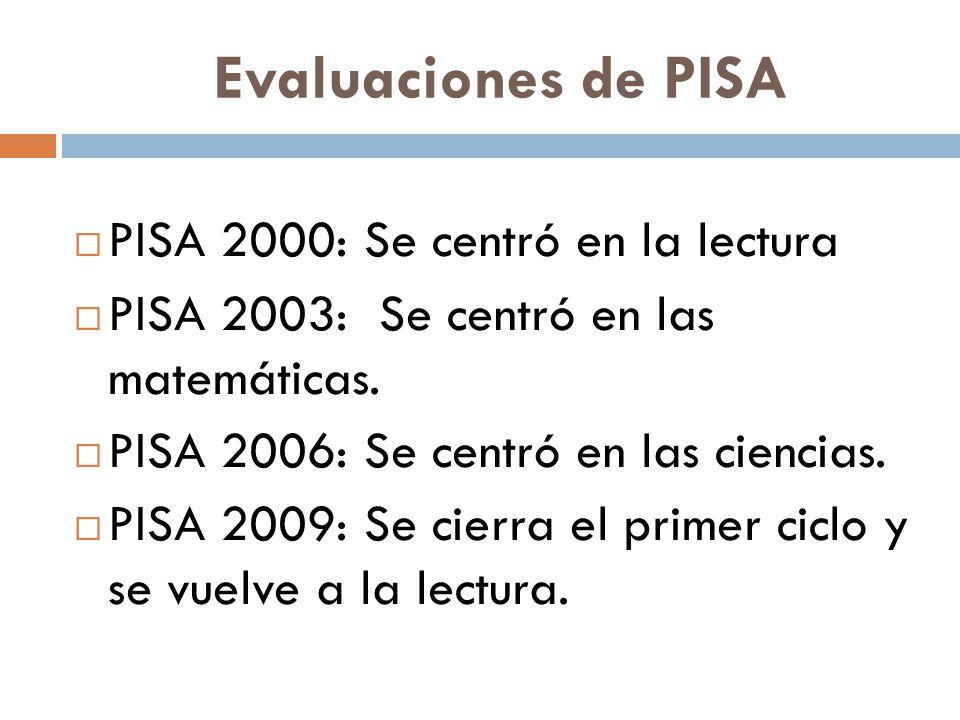 Evaluaciones de PISA PISA 2000: Se centró en la lectura