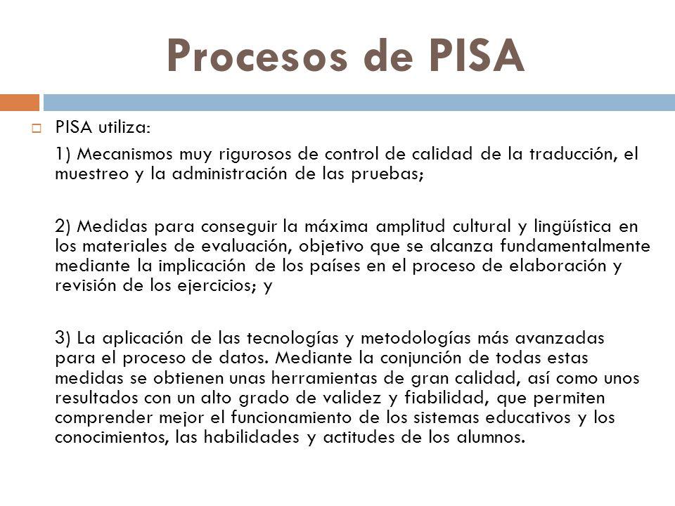 Procesos de PISA PISA utiliza: