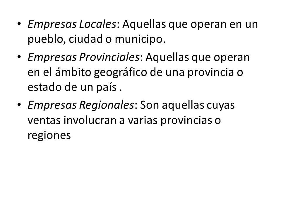 Empresas Locales: Aquellas que operan en un pueblo, ciudad o municipo.