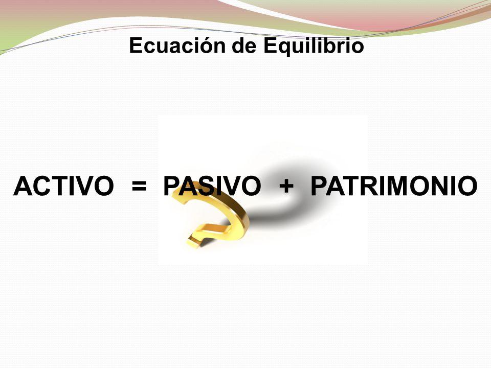 Ecuación de Equilibrio ACTIVO = PASIVO + PATRIMONIO