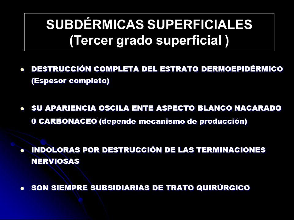 SUBDÉRMICAS SUPERFICIALES (Tercer grado superficial )