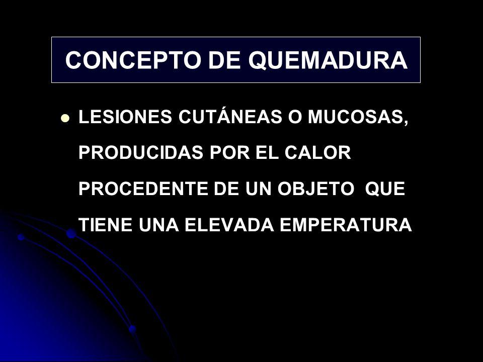 CONCEPTO DE QUEMADURA LESIONES CUTÁNEAS O MUCOSAS, PRODUCIDAS POR EL CALOR PROCEDENTE DE UN OBJETO QUE TIENE UNA ELEVADA EMPERATURA.