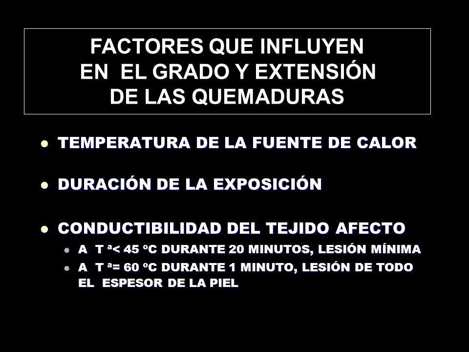 FACTORES QUE INFLUYEN EN EL GRADO Y EXTENSIÓN DE LAS QUEMADURAS