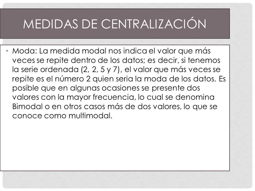 Medidas de Centralización