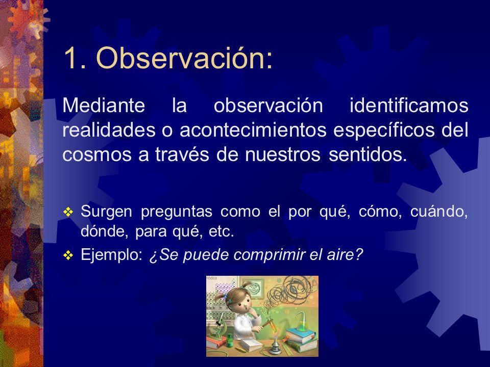 1. Observación: Mediante la observación identificamos realidades o acontecimientos específicos del cosmos a través de nuestros sentidos.