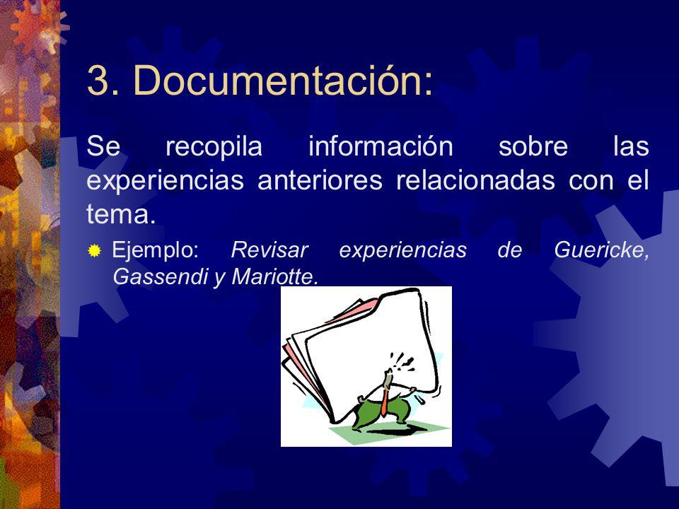 3. Documentación: Se recopila información sobre las experiencias anteriores relacionadas con el tema.